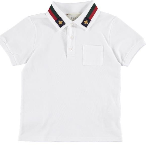 7547206b Gucci Shirts & Tops | Boys White Bee Collar Polo Top | Poshmark